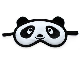 Panda Sleep Mask, Animal eye mask, Kawaii bear blindfold, Black and white sleepmask, Cotton mask, Animal face cosplay costume, Gift for her