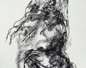 """Expressive Drawing of a Hand - Figure 7 - 9 x 12"""" charcoal on paper - original drawing by Derek Overfield"""