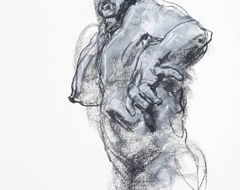 "Dynamic and Expressive Figurative Art  - 14 x17"",  fine art - Drawing 480 - pastel and charcoal on paper - original drawing"