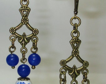 Blue and White Porcelain Antique Brass finish Leverback Chandelier Earrings