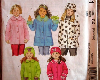 Little Girls Unlined Coats and Hats Made with Fleece Sizes XS (3-4) and S (5-6) McCalls Pattern M4961 UNCUT