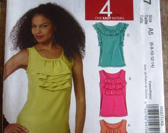 Easy to Sew Misses Sleeveless Pullover Tops Sizes 6 8 10 12 14 McCalls Pattern M5977 UNCUT