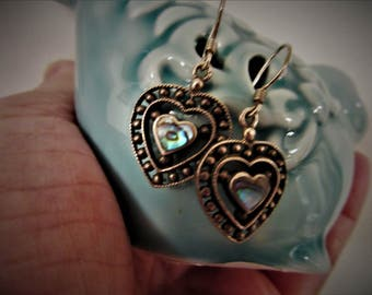 925 Sterling Heart Dangle Earrings Abalone Stoned Wire Earrings