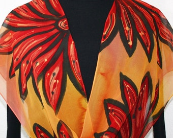 Hand Painted Silk Scarf. Orange, Red, Coral Handmade Silk Scarf SUNRISE DAISIES. 11x60 in. Silk Scarves Colorado.Hand Dyed Scarf 100% silk