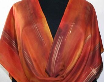 Silk Scarf Handpainted. Orange, Terracotta Hand Painted Shawl. Handmade Silk Wrap BRONZE MIST. Large 14x72. Birthday Gift Mother's Day.