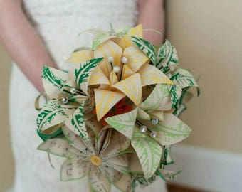 Paper Daisies & Lilies Music Bouquet- made to order, one of a kind, origami, paper flowers, alternative bouquet, non traditional