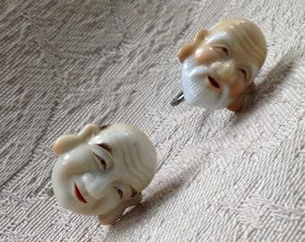 Vintage Japanese Toshikane porcelain god of fortune earrings screw backs