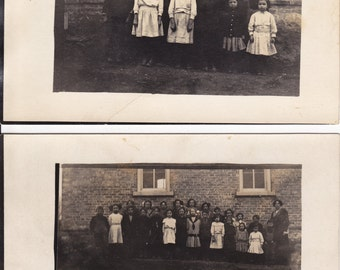 2 Real Photo Postcards - School Class / Young Children - Antique Post Cards