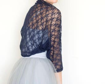 Blue lace shrug, wedding shawl, bridal lace shrug, shrugs boleros, navy blue bridesmaid shrug, evening shawls wraps