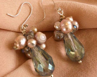 Siren's Delight Crystal And Freshwater Pearl Earrings