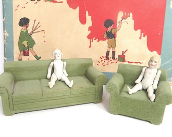 Strombecker Wood Living Room Doll Furniture Set, Green Couch & Chair, Lightly Flocked, Vintage Doll Accessories