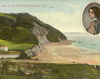 "BLOMIDON Land of Evangeline ""And away to the Northward Blomidon Rose"" Antique Postcard Eden Manitoba Cancel 1912"