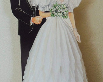 1990 Beistle Bride and Groom Honey Comb Table Decoration