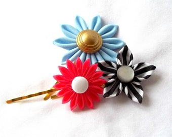 Cute Bobby Pin Set of Kanzashi Flowers Sky Blue Watermelon Pink and Black and White Stripes