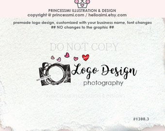 1300-3 photography logo, Custom logo, Premade Logo Design, doodle camera logo, photographer watermark , camera art