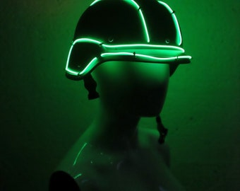 SALE!! EL wire Helmet - Black/Green - mad max, apocalypse, burning man, cosplay, please read description for sizes