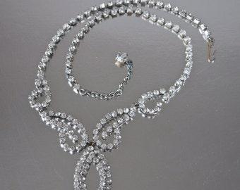 1930's Art Deco Czech Clear Rhinestone Necklace Swirl Teardrop Collar Delicate Bridal