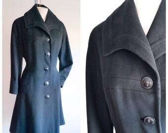 1950s Black wool princess coat / 50s wide collar Dior influence winter coat Astra label - S M