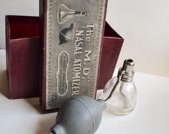 1910 Medical curio in box nasal atomizer / Antique glass & rubber atomiser pharmacy decor