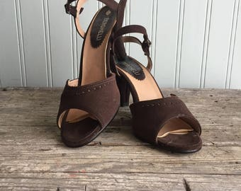 Vintage Brown Faux Suede Sling back Shoes, Peep Toe, 1940s style shoes
