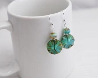 Blue Green Czech Glass Earrings, Blue and Green Earrings, Boho Earrings, Green Earrings, Blue Earrings, Glass Drop Earrings, Gift for Her