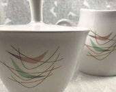 vintage atomic creamer & sugar bowl franciscan whitestone ware