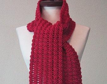 Long Scarf Raspberry Color - Hand Crocheted - Soft Acrylic Yarn - Handmade - Ready to Ship - Great Gift