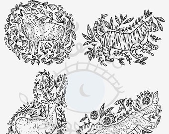 Wild Animal Clip Art - Set of 4