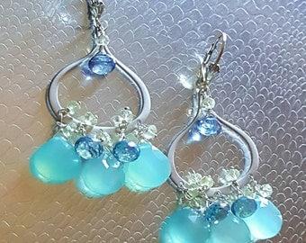 Aqua Chalcedony Mystic Blue Quartz and Lemon Topaz Chandelier Earrings Silver Bohemian Chic