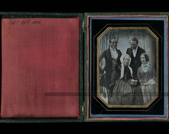 Superb Quarter Plate Group Daguerreotype - Dated October 1851