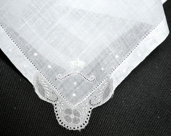VINTAGE WEDDING HANKIE, Wedding White Linen, Lace & Grey Work at One Corner, Hem Stitched, Very Delicate Work