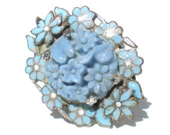 Blue Flower Ring Enamel and Molded Art Glass on Silver Tone Size 6.5 Vintage Jewelry Gift for Her