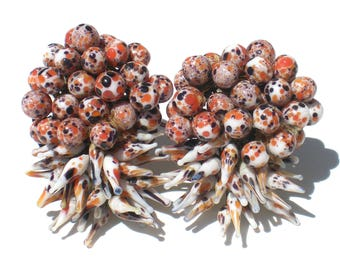 Murano Lampwork Glass Clip Earrings Spiky Beads Cluster Style Orange Blue White