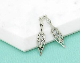 Elf Deco Dagger Stud Drop Earrings, Sterling Silver, Art Deco Inspired, Elvish Inspired, Art Nouveau Inspired Earrings