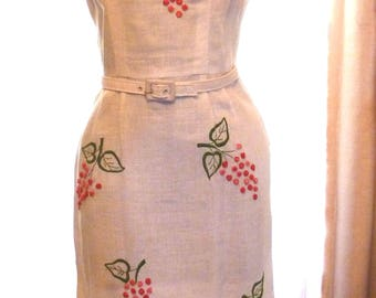 White Linen Sheath With Embroidered Floral Design Dress 1960 Helenes Dress
