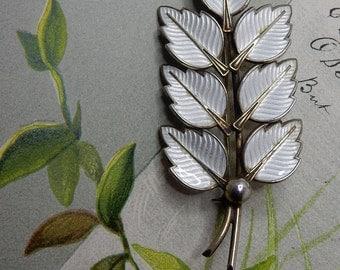 Norway Sterling Silver & White Guilloche Enamel Leaf Branch Brooch   NEC11