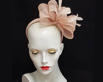 Nude pink fascinator sinamay bows plus feathers headband fixing weddings races hat