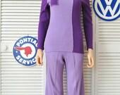 60's Womens Mod Vintage Pantsuit 2 Piece Set/Two Tone Colorblock Purple/Tarni Hong Kong Acylic Knit Theater Costume Small pants shirt Teens