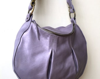 Light Purple Leather Bag- Ready to Ship- lavender bag- leather handbag- leather crossbody bag- purple leather purse