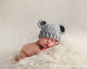 Newborn Hat and Shorts Outfit, Baby Boy Set, Baby Boy Bear Hat, Light Grey Hat, Dark Grey Ears, Baby Shorts. Children Photo Props. Baby Hat