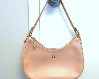 Bo Derek blush pink leather chic hobo shoulder bag, Pink Italian leather purse, Vintage blush pink leather chic hobo designer handbag
