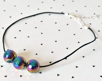 Choker Necklace - Gift for Her - Gemstone Necklace - Boho Choker - Rainbow Necklace - Agate Stone Necklace - Boho Necklace