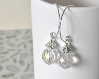 Glass Dangle Earrings - Gift for Her - Silver Earrings - Birthday Gift - Handmade Earrings UK