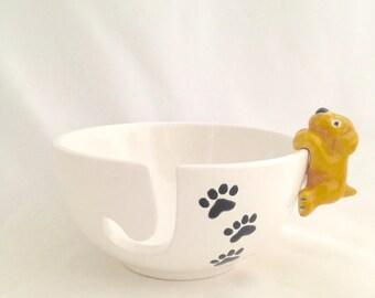 Dog Paw Print Ceramic Yarn Bowl - Pottery Knitting Bowl - Yarn Holder