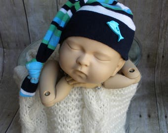 Upcycled Newborn Hat Baby Boy Sleep Cap with Long Knotted Tail Upcycled Photo Prop Navy Blue Stripe with Dolphin Button - READY TO SHIP