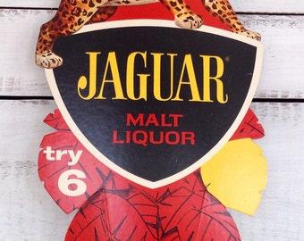 Vintage 1960's Midcentury Jaguar Liquor Advertising Bar Cardboard Sign