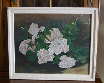 Shabby Cottage Pink Roses Oil Painting. Framed Vintage Floral Oil Painting. Romantic Pink Roses Painting Chippy Pink Frame Shabby Chic