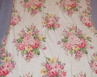 Vintage Floral Curtain Pair. Cabbage Roses Floral Fabric Curtain Panels. 30s 40s Barkcloth Era Drapes. Saison Cotton Fabric Pr 2 Curtains