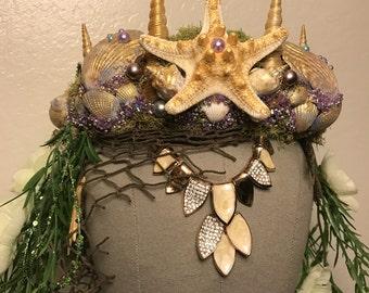 Goddess of the deep - Purple gold mermaid shell flower crown headdress headpiece vintage unique boho burning man photoshoot fascinator crown