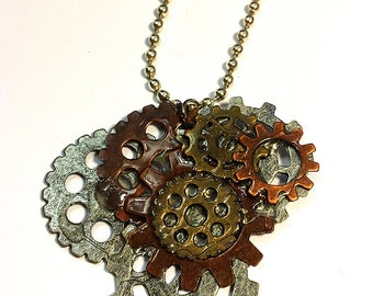 Steampunk Layered Gears Necklace Jewelry